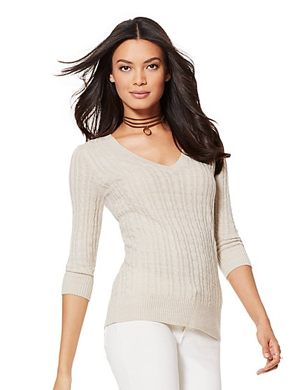 Cable-Knit V-Neck Sweater - New York & Company