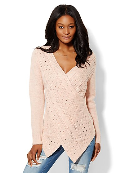 Cable Stitch Wrap Sweater  - New York & Company
