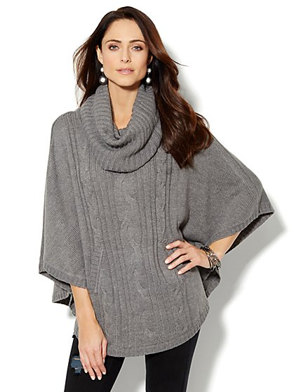 Cable-Trim Cowl-Neck Poncho - New York & Company
