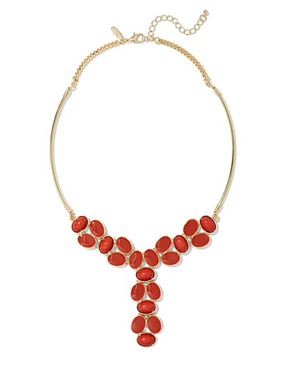 Cabochon-Accent Goldtone Y Necklace  - New York & Company