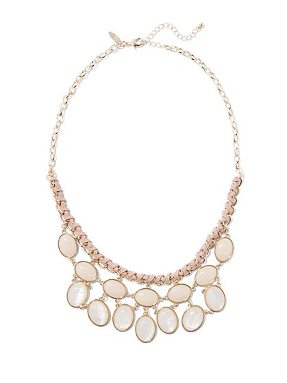 Cabochon Bib Necklace - Blush  - New York & Company