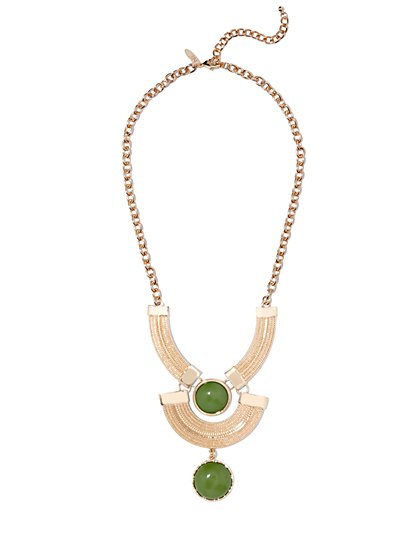Cabochon Bib Necklace - Green  - New York & Company