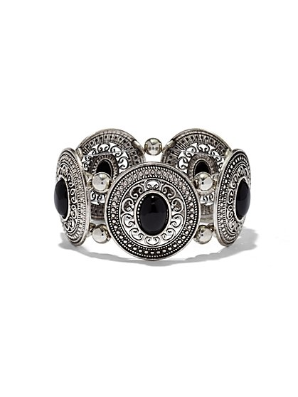 Cabochon & Filigree Stretch Bracelet  - New York & Company