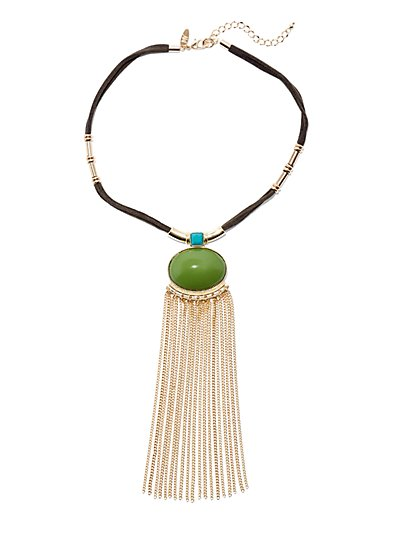 Cabochon & Fringe Statement Necklace  - New York & Company