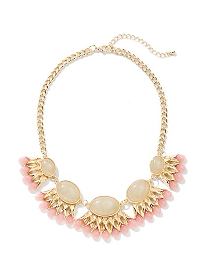 Cabochons & Beaded Bib Necklace - New York & Company