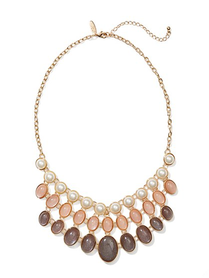 Cabochons & Faux-Pearl Beads Bib Necklace - New York & Company