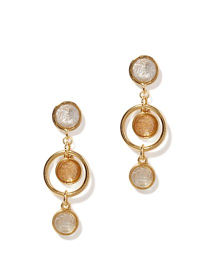 Cabochons & Hoop Triple-Drop Earrings