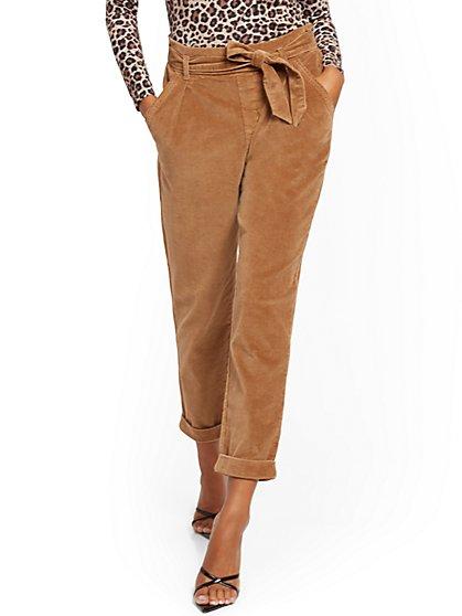 Camel Paperbag-Waist Corduroy Pant - New York & Company
