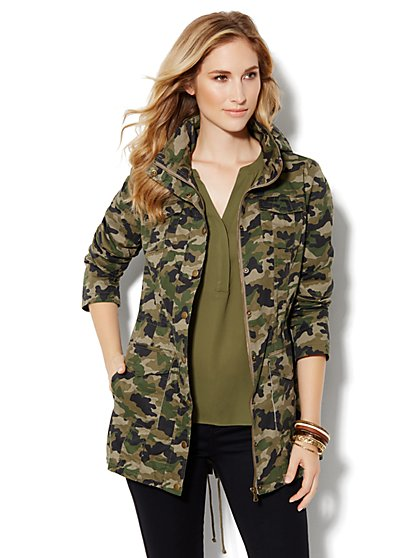 Camo Long Anorak - New York & Company