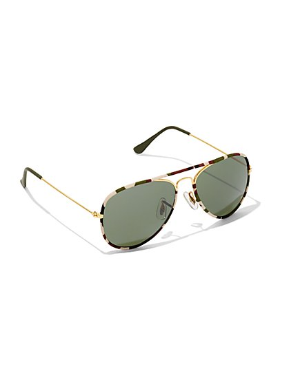 Camouflage Aviator Sunglasses  - New York & Company
