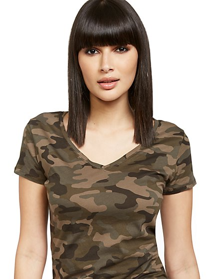 Camouflage-Print Perfect Tee - New York & Company