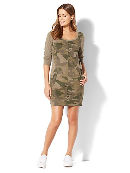 Camouflage-Print Shift Dress - New York & Company