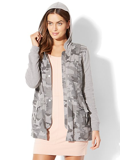 Camouflage-Print Zip-Front Jacket - New York & Company