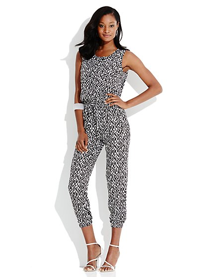 Cargo Abstract-Print Jumpsuit - New York & Company