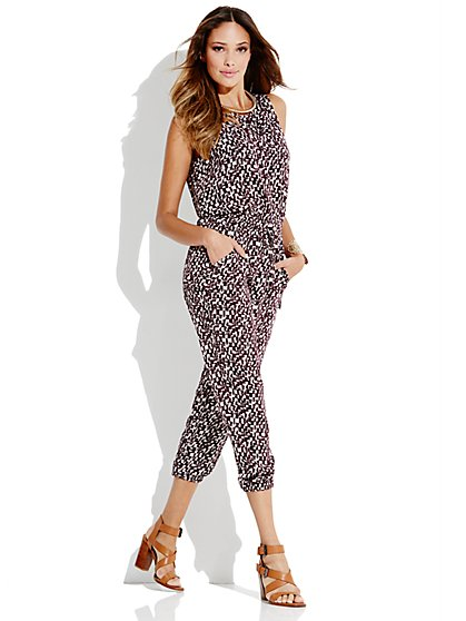 Cargo Abstract-Print Jumpsuit