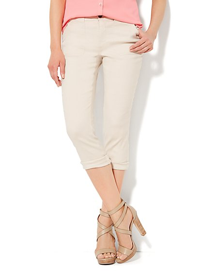 Cargo Crop Pant - Linen - New York & Company