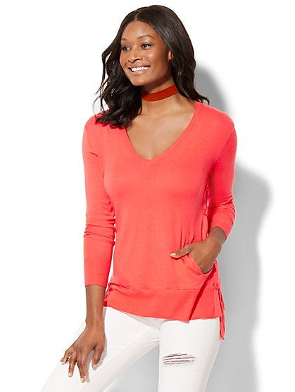 Cashmere Touch Button-Accent Sweater - New York & Company