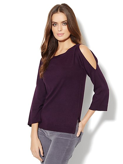 Cashmere Touch - Cold-Shoulder Pullover Sweater  - New York & Company