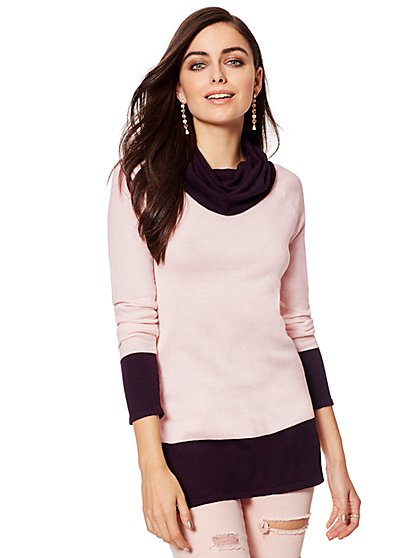 Cashmere Touch Colorblock Cowl-Neck Sweater - New York & Company