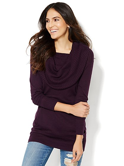 Cashmere Touch Cowl-Neck Tunic Sweater  - New York & Company