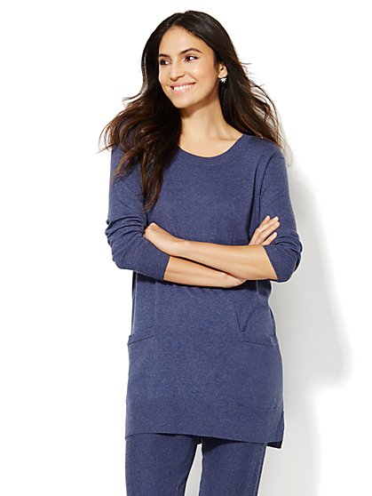 Cashmere Touch Two-Pocket Tunic Sweater  - New York & Company