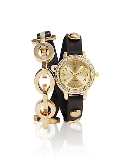 Chain & Faux-Leather Double-Wrap Watch - New York & Company