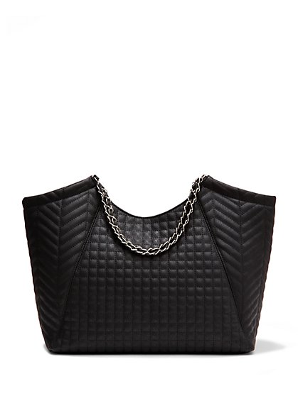 Chain-Handle Quilted Tote  - New York & Company