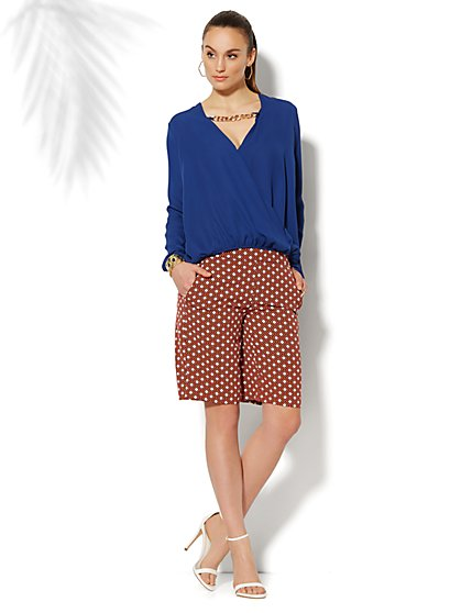 Chain-Link Accent Faux-Wrap Blouse  - New York & Company