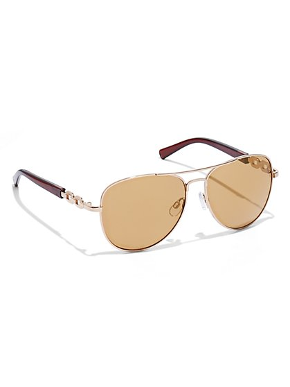 Chain-Link Aviator Sunglasses  - New York & Company