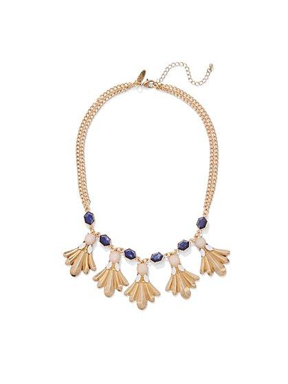 Chain-Link & Beaded Choker Necklace  - New York & Company