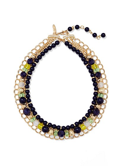 Chain-Link Beaded Necklace  - New York & Company