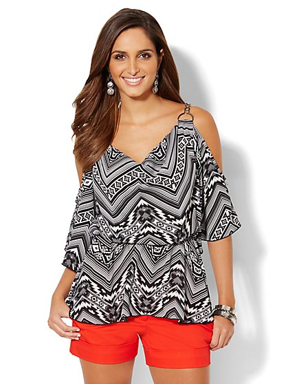 Chain-Link Cold-Shoulder Blouse - Print - New York & Company