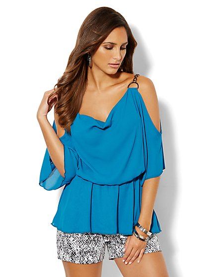 Chain-Link Cold-Shoulder Blouse - New York & Company
