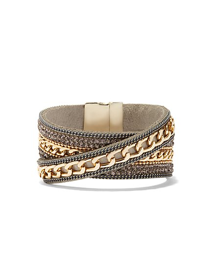 Chain-Link Faux-Leather Bracelet  - New York & Company