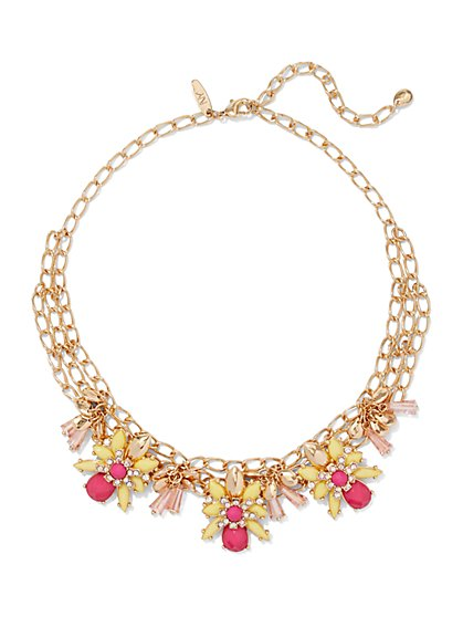Chain-Link Floral Necklace  - New York & Company