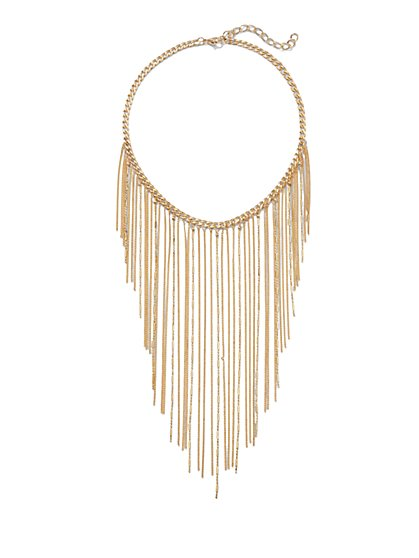 Chain-Link Fringe Bib Necklace  - New York & Company