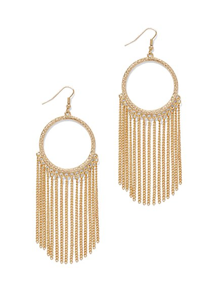 Chain-Link Fringe Drop Earring  - New York & Company