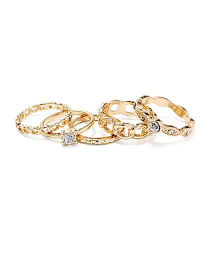 Chain-Link & Heart Stacked Ring Set  - New York & Company