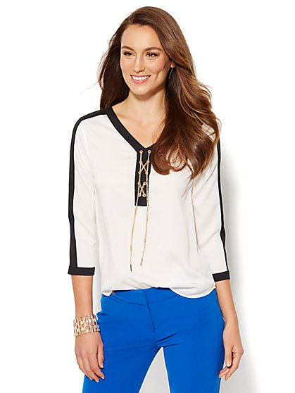 Chain-Link Lace-Up Blouse  - New York & Company