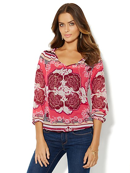 Chain-Link Trim Blouse - Floral/Stripe Print  - New York & Company