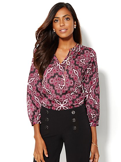 Chain-Link Trim Blouse - Medallion Print  - New York & Company