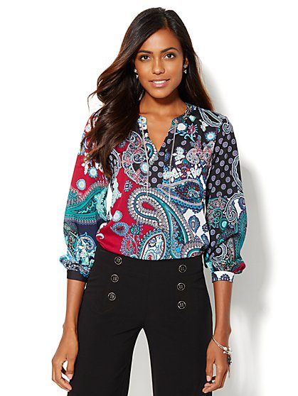 Chain-Link Trim Blouse - Paisley - New York & Company