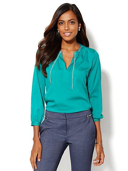Chain-Link Trim Blouse - Petite  - New York & Company