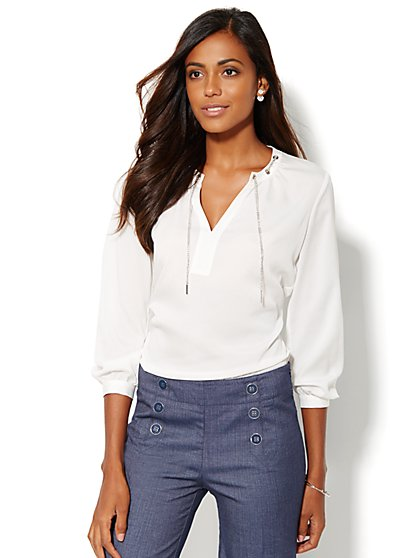 Chain-Link Trim Blouse - New York & Company