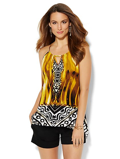 Chain-Link Trim Halter Top - Graphic Print - New York & Company