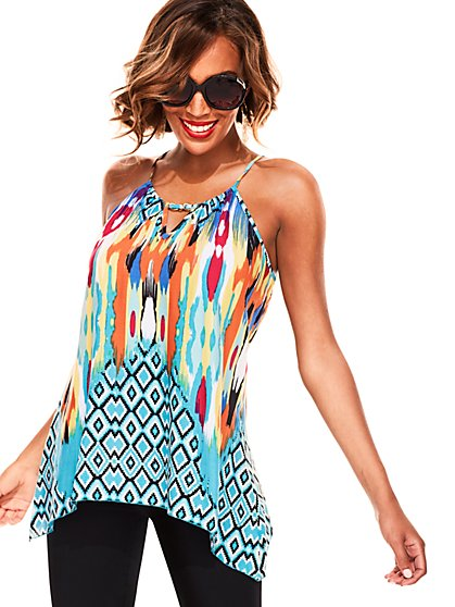 Chain-Link Trim Halter Top - Multi Print - New York & Company