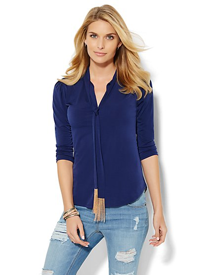 Chain-Link Trim Tie-Front Blouse  - New York & Company