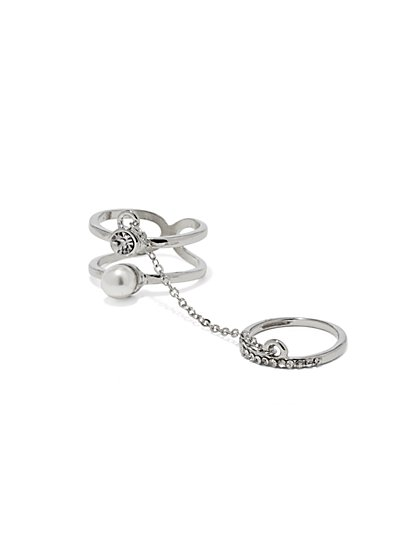 Chain-Link Two-Finger Ring  - New York & Company