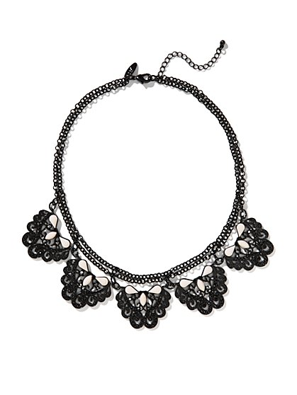 Chain Link and Lacy Medallion Collar Necklace  - New York & Company