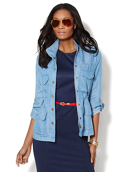 Chambray Drawstring Utility Jacket  - New York & Company